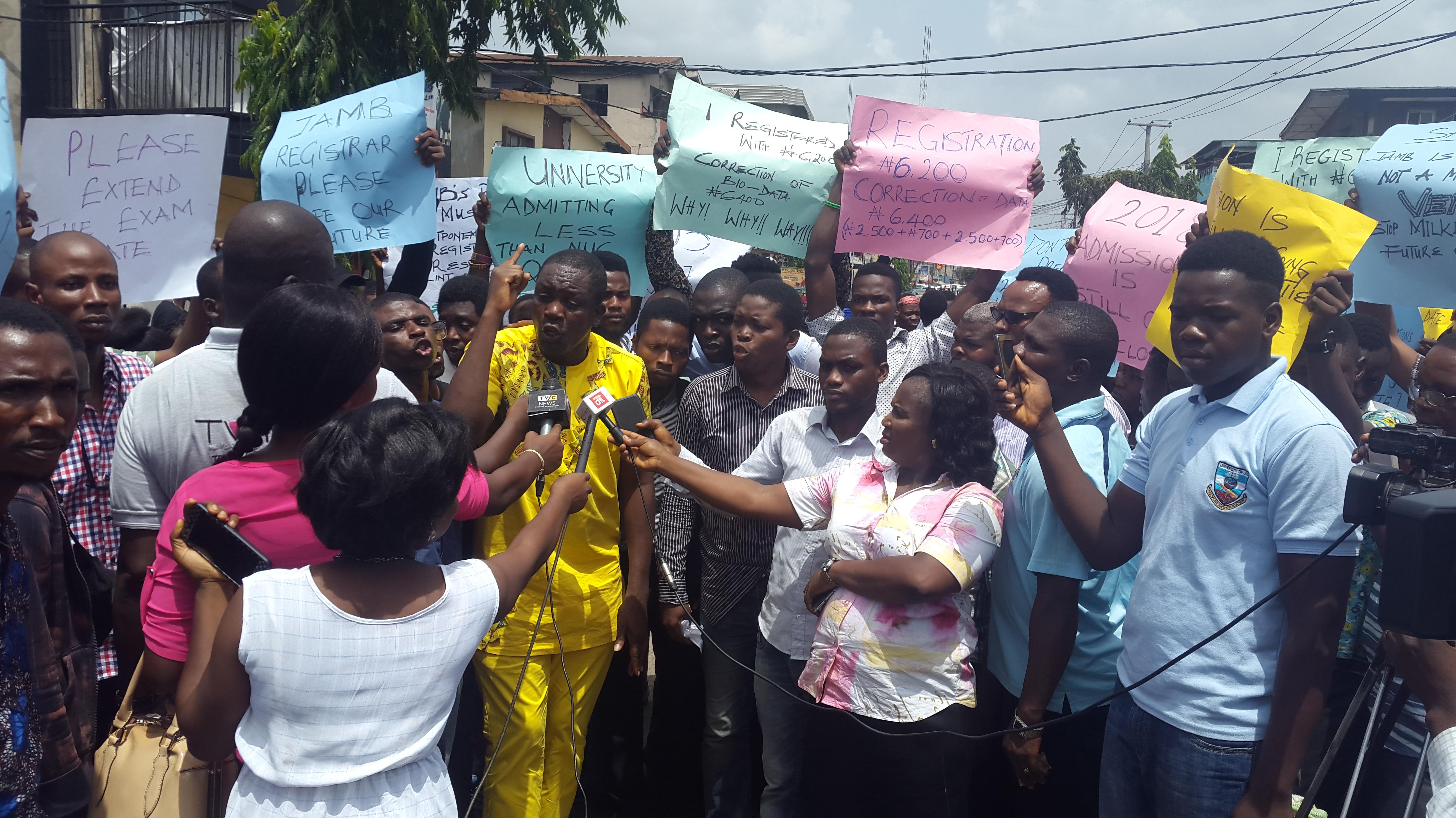 2018 UTME: Candidates protest exam date, seek postponement