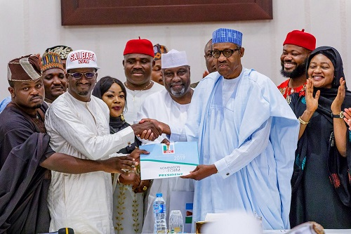 PHOTOS: Buhari receives APC presidential nomination forms from group