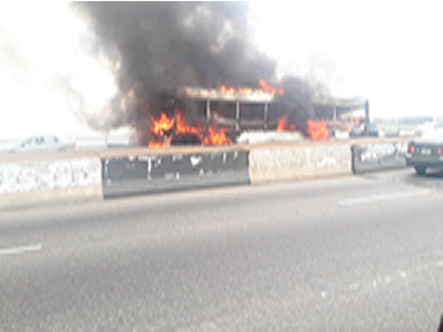 60 passengers escape death as BRT catches fire