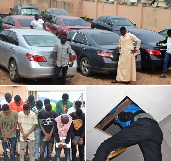 EFCC Arrests 27 Yahoo Boys in Osogbo, Recovers 8 Exotic Cars