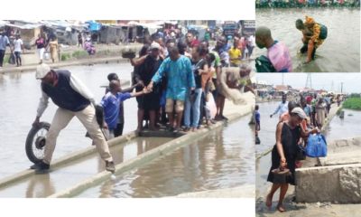 Lagos-Badagry Road where residents pay N200 to be piggybacked out of flood
