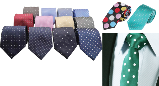 Complete your dapper looks with polka doted necktie