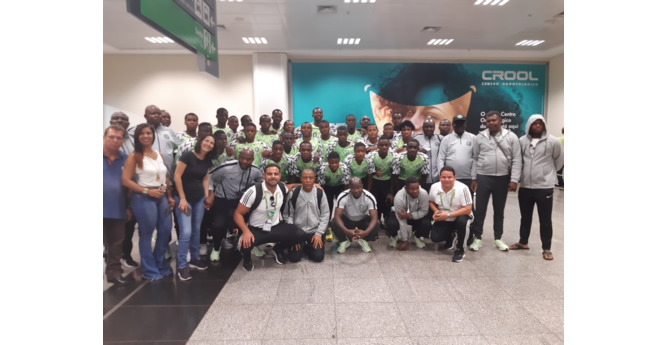 CAP: The Nigeria delegation with hotel staff on arrival in Gioania on Tuesday