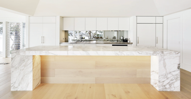 Kitchen spells luxury with marble